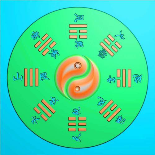 八卦挂件精雕图(QTG-022)