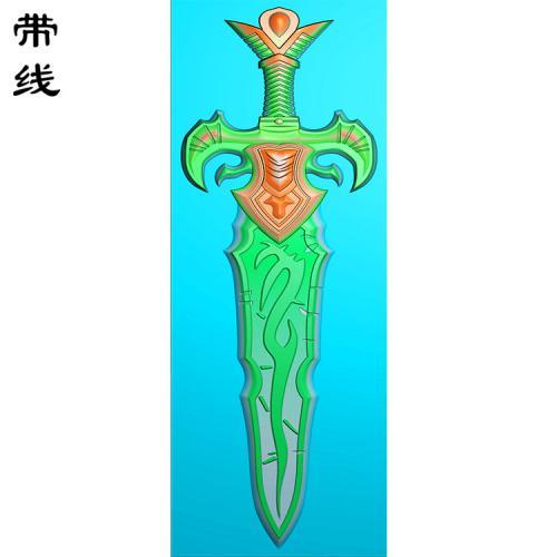 宝剑挂件精雕图(QTG-027)