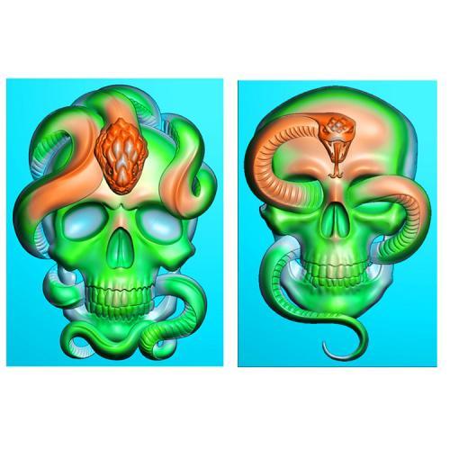 骷髅蛇挂件精雕图(QTG-057)