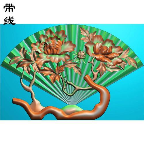 牡丹玉扇挂件精雕图(QTG-063)