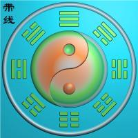 太极八卦盘挂件精雕图(QTG-073)