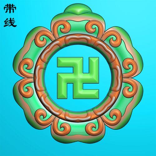 万字莲挂件精雕图(QTG-077)