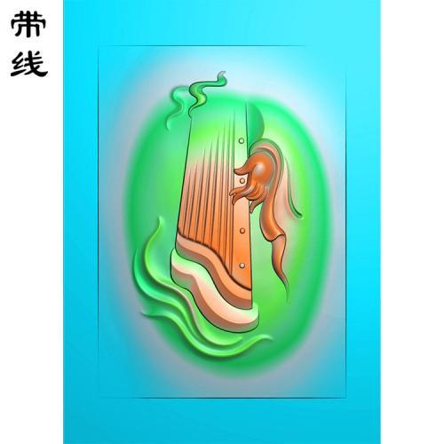 玉雕挂件琴抚挂件精雕图(QTG-089)