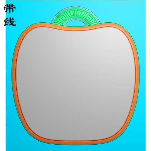 圆牌苹果形素牌框挂件精雕图(QTG-096)