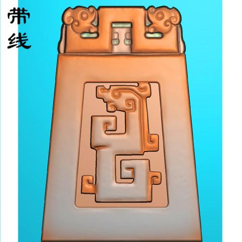 仿古龙梯型挂牌挂件精雕图(FLF-050)