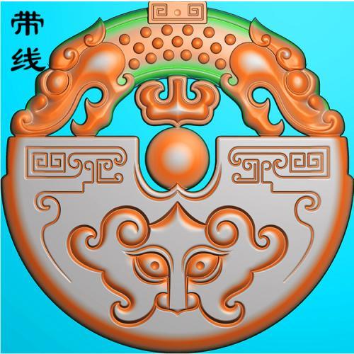 圆牌龙戏火珠挂件精雕图(FLF-168)