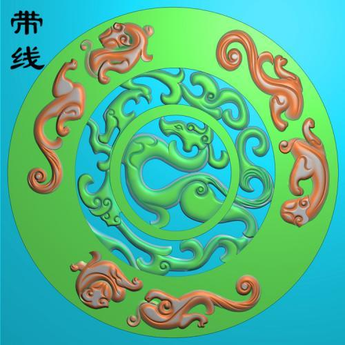 圆盘草龙挂件精雕图(FLF-169)