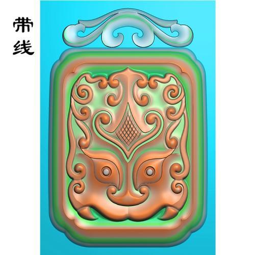 仿古花头方兽面挂件挂件精雕图(FSP-095)