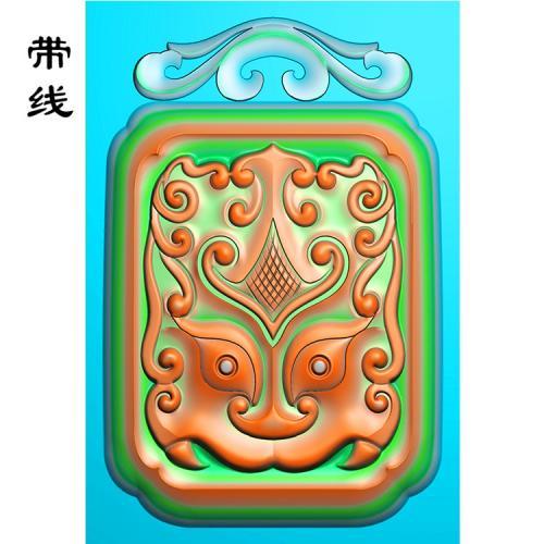 玉雕挂件仿古半面方牌兽精雕图(FSP-119)