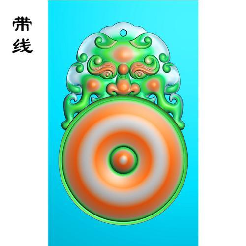玉雕挂件兽头精雕图(FSP-120)