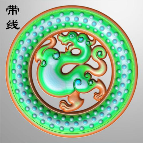 仿古草龙乳丁牌精雕图(RDP-016)