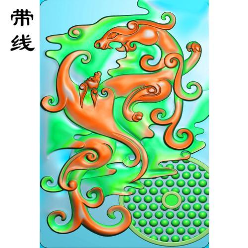 仿古草龙乳丁牌精雕图(RDP-018)