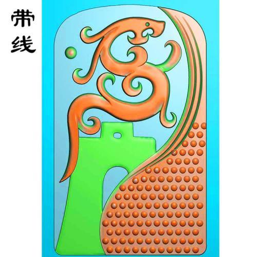 仿古草龙乳丁牌精雕图(RDP-020)