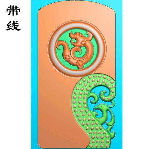 仿古龙乳丁牌精雕图(RDP-022)