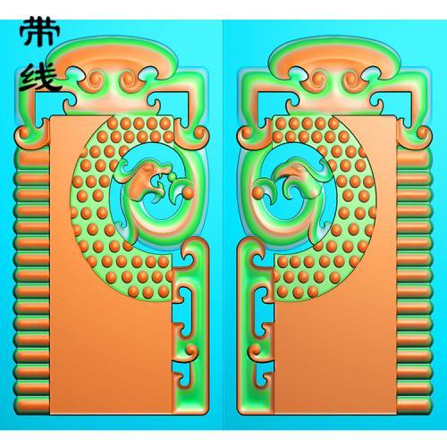 仿古龙凤乳丁牌精雕图(RDP-034)