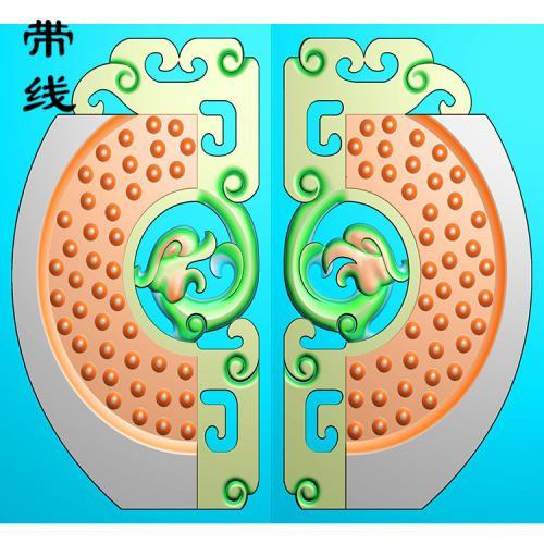仿古龙凤乳丁牌精雕图(RDP-035)