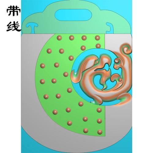 玉雕仿古草龙平安牌乳丁牌精雕图(RDP-052)