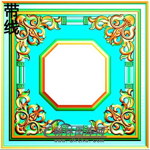 方形洋花精雕图(FXH-025)