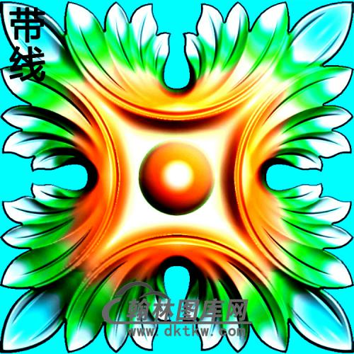 方形洋花精雕图(FXH-037)