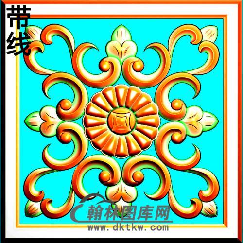 方形洋花精雕图(FXH-047)