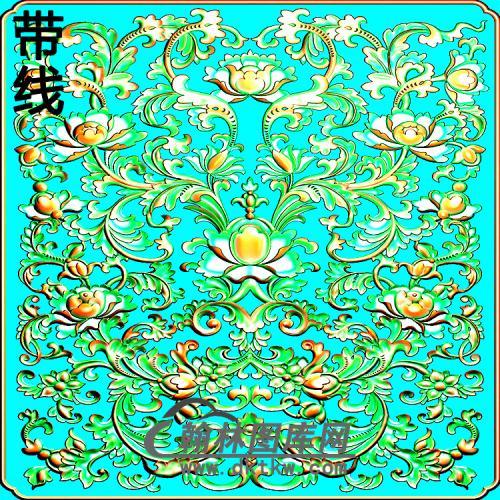 欧式方形洋花精雕图(FXH-347)