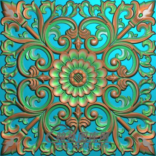 欧式方形洋花精雕图(FXH-349)