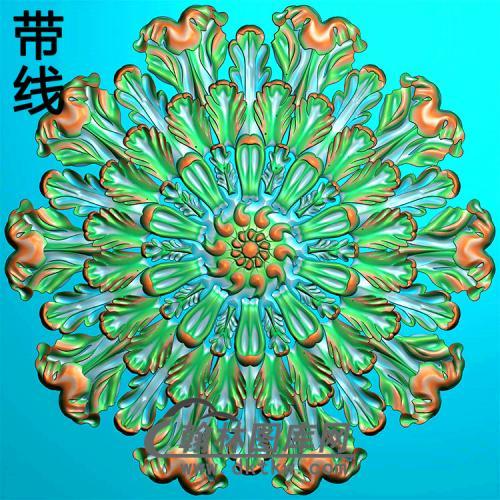 欧式圆形洋花精雕图(YXH-346)