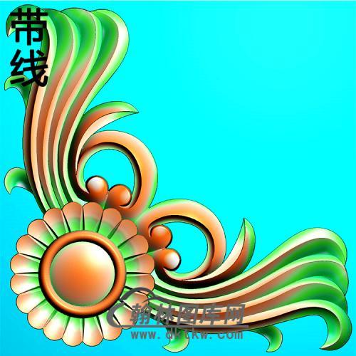 欧式洋花角花精雕图(YJH-128)