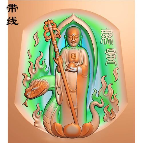 踩蛇站佛精雕图(ZFX-010)