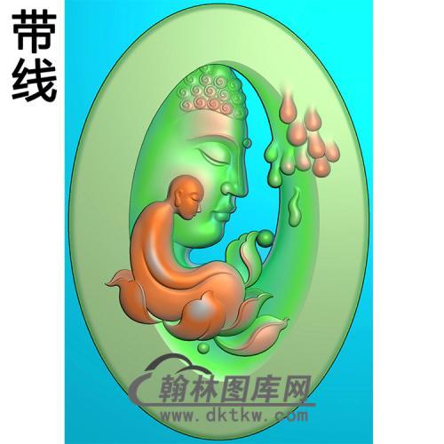 荷花侧脸佛半身佛像精雕图(SFX-266)