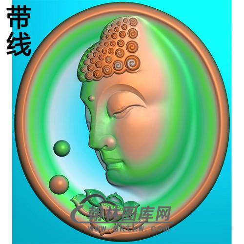 荷花侧脸佛半身佛像精雕图(SFX-273)