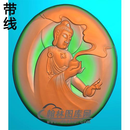 手捧香炉半身佛像精雕图(SFX-276)