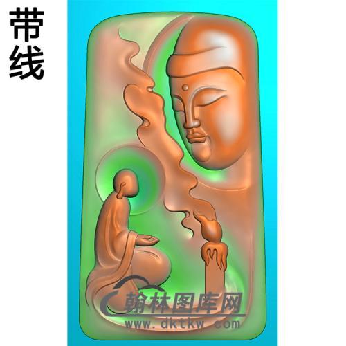 侧脸佛香炉半身佛像精雕图(SFX-284)