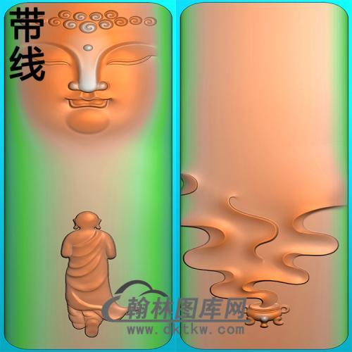 香炉佛头半身佛像精雕图(SFX-285)