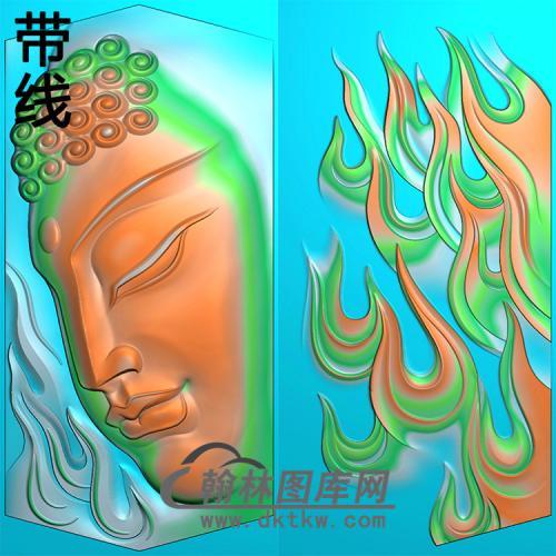 火焰侧脸佛半身佛像精雕图(SFX-286)