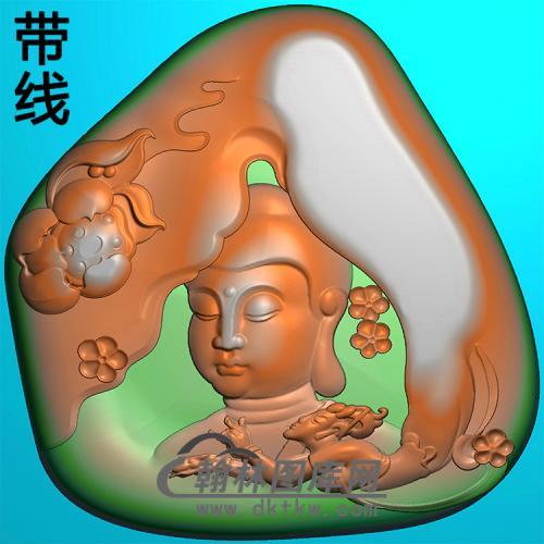 荷花仙女佛半身佛像精雕图(SFX-289)