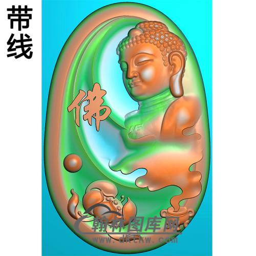 侧脸佛莲花半身佛像精雕图(SFX-296)