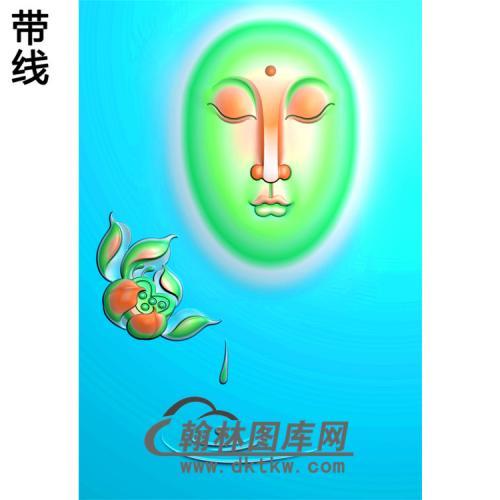 莲花滴水观音菩萨正脸精品挂件精雕图(带线)(BGY-212)