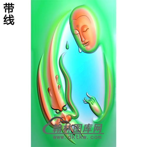 龙头观音菩萨精品挂件精雕图(带线)(BGY-220)
