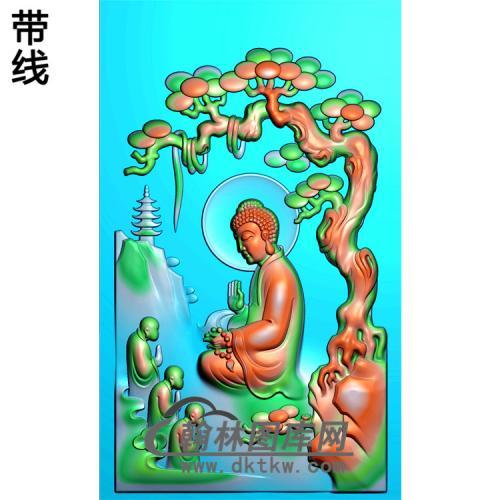 山水建筑侧脸佛佛像精雕图(LFX-019)