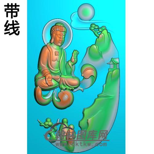 山水建筑佛像精雕图(LFX-027)
