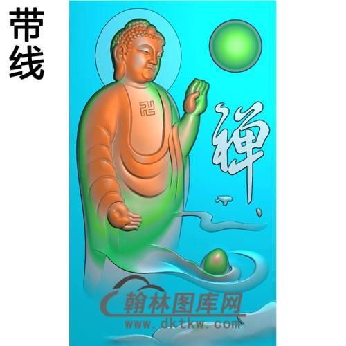 悟道佛山水佛像精雕图(LFX-028)