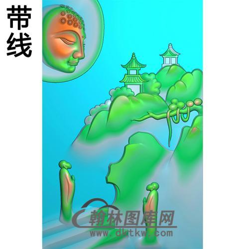 山水建筑佛像精雕图(LFX-029)