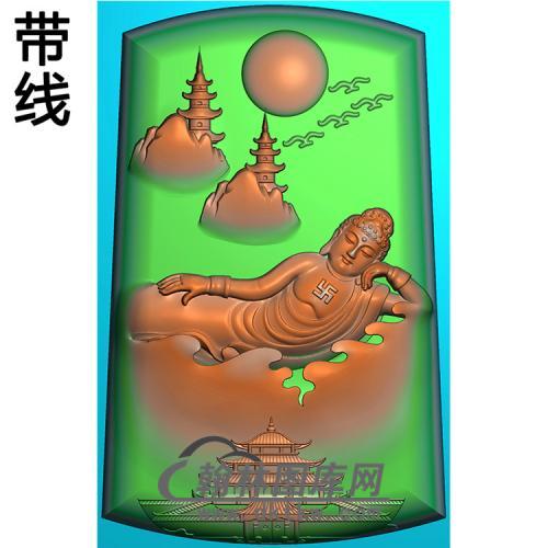 山水建筑佛像精雕图(LFX-031)
