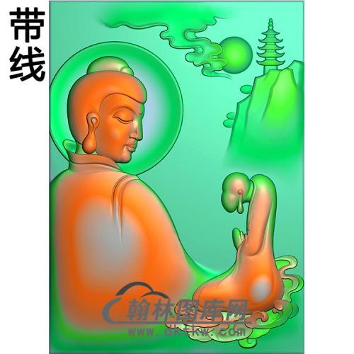 侧脸佛山水佛像精雕图(LFX-032)