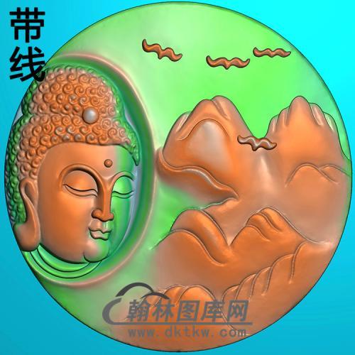 侧脸佛山水佛像精雕图(LFX-033)