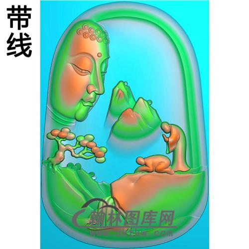 山水无脸佛拜佛佛像精雕图(LFX-035)