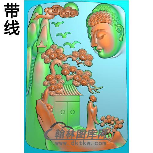 山水建筑佛像精雕图(LFX-036)
