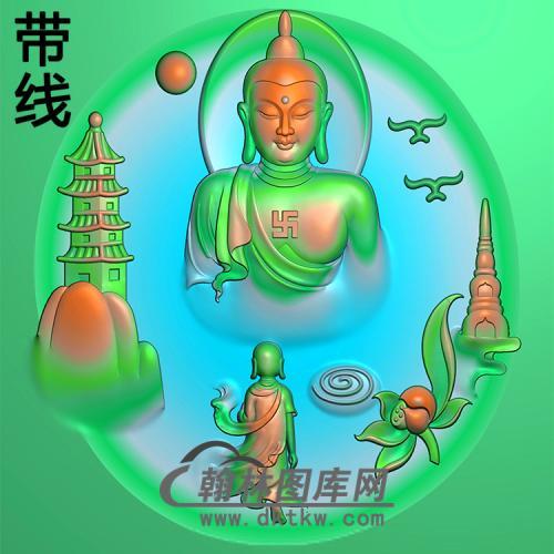 山水建筑佛像精雕图(LFX-037)