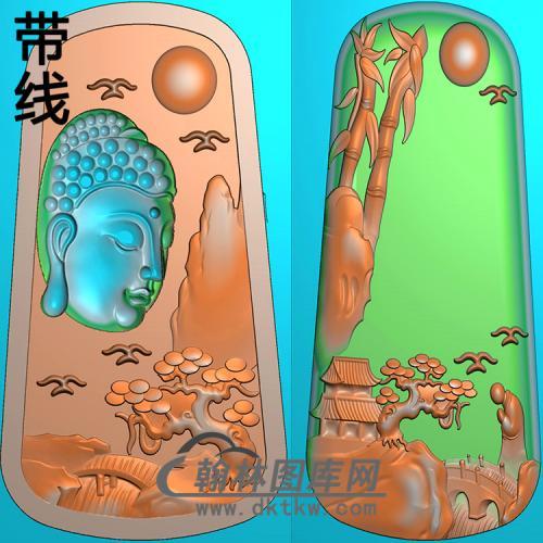 山水竹子松树佛像精雕图(LFX-038)